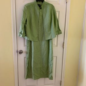 Positive Attitude Dress & Blazer Sz 14 Green Lined
